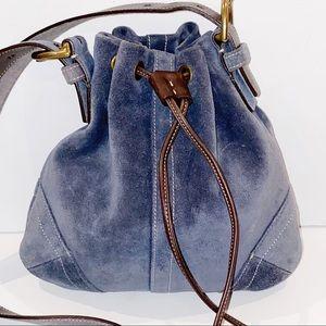 Coach | Blue Suede Drawstring Cross Body Bag